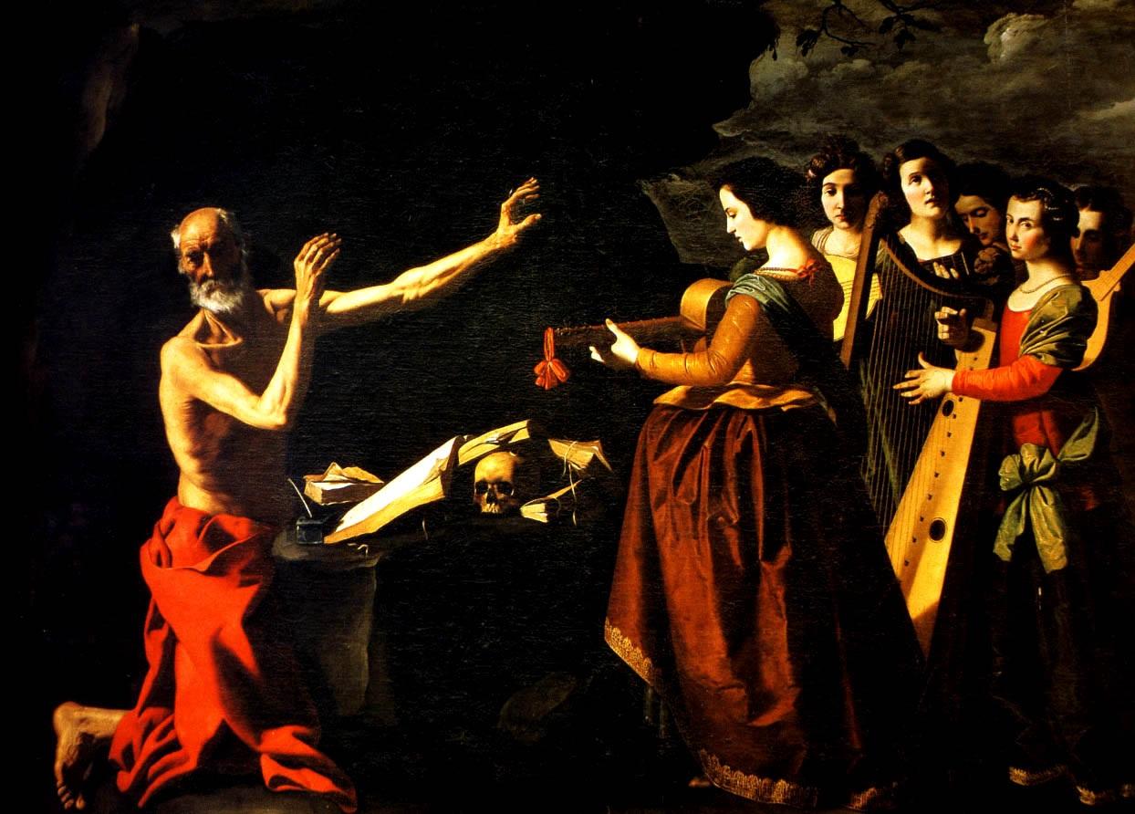 """Francisco de Zurbarán (1598–1664), """"Šv. Jeronimas, tyruose kankinamas prisiminimų (gr. λογίσμοι) apie Romos šokančias merginasi"""""""