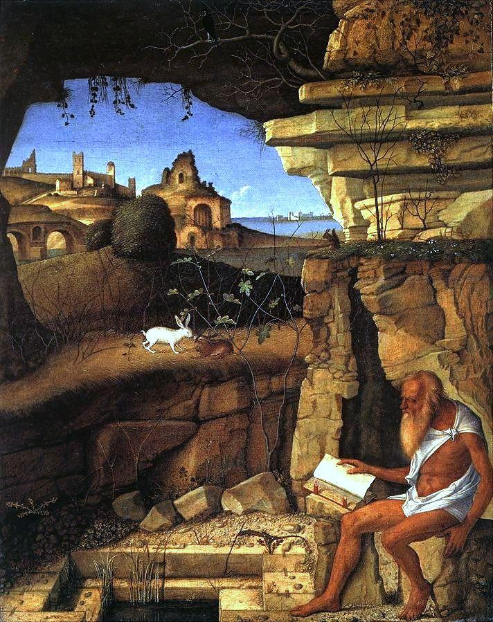 """Giovanni Bellini, """"Šv. Jeronimas (347–420) tyruose"""""""