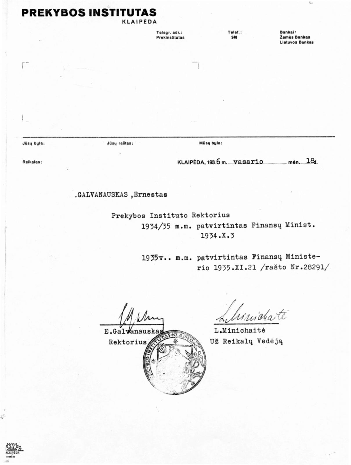 2 il. E. Galvanausko patvirtinimo Prekybos instituto rektoriumi išrašo faksmilė (LCVA, f. 391, ap. 7, b. 1446, l. 2)