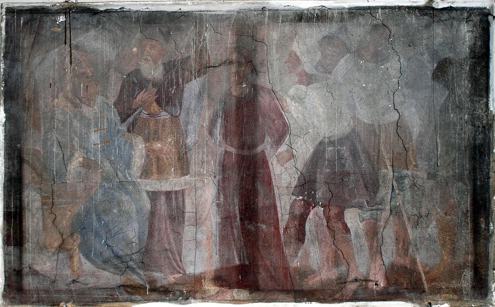 """""""Pas Kajafą"""". XVII a. pab. freska. Šventojo Kryžiaus bažnyčia, Kaunas. Aurimo Švedo nuotrauka"""