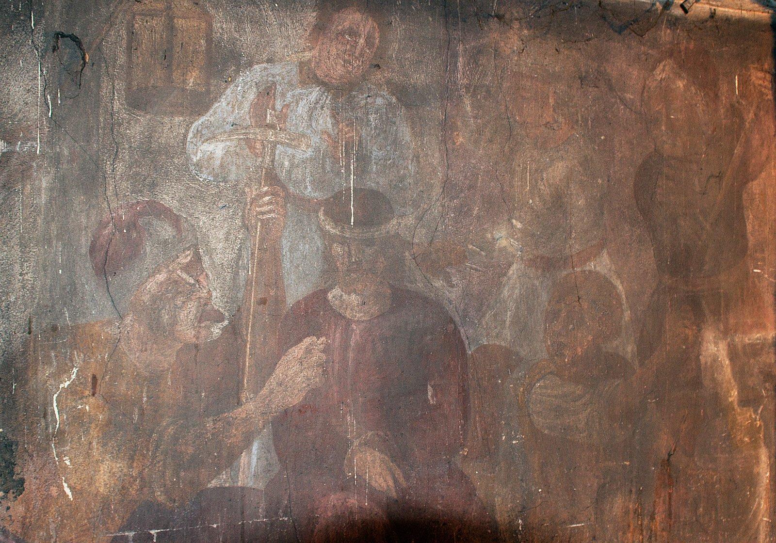 """""""Patyčios"""". XVII a. pab. freska. Šventojo Kryžiaus bažnyčia, Kaunas. Aurimo Švedo nuotrauka"""