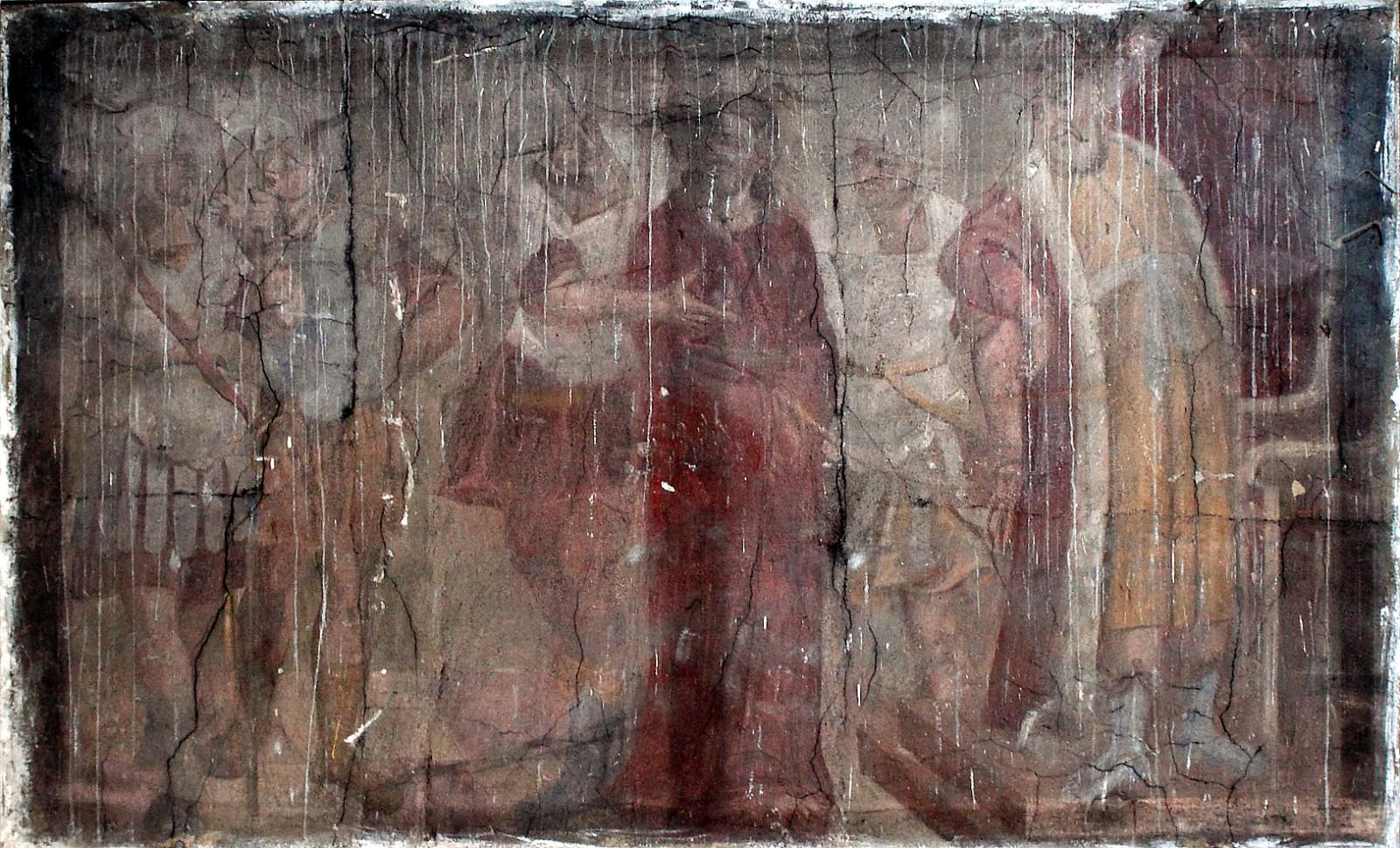 """""""Pas Pilotą"""". XVII a. pab. freska. Šventojo Kryžiaus bažnyčia, Kaunas. Aurimo Švedo nuotrauka"""