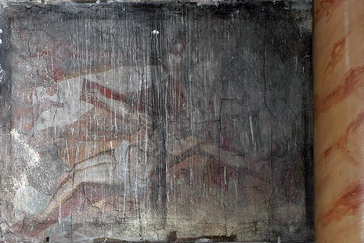 """""""Jėzus prikalamas prie kryžiaus"""". XVII a. pab. freska. Šventojo Kryžiaus bažnyčia, Kaunas. Aurimo Švedo nuotrauka"""