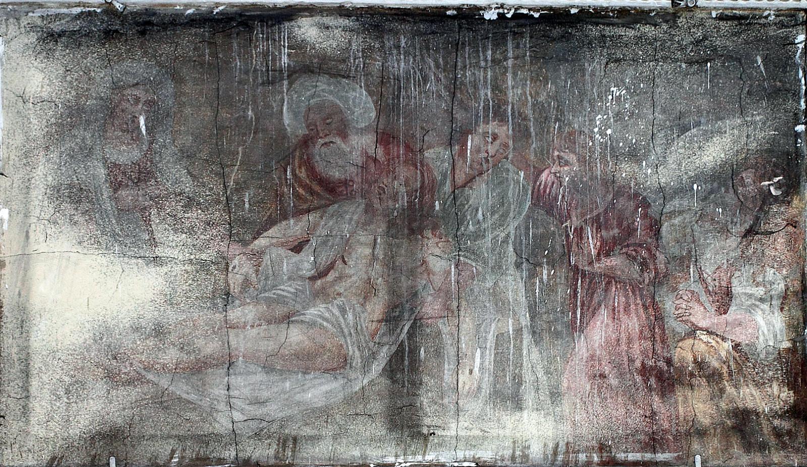 """""""Guldymas į kapą"""". XVII a. pab. freska. Šventojo Kryžiaus bažnyčia, Kaunas. Aurimo Švedo nuotrauka"""