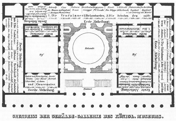 """1 il. """"Altes"""" muziejaus Berlyne pirmojo aukšto planas, 1830. Brėžinio autorius Friedrich Alexander Thiele. Šaltinis – wikimedia commons."""