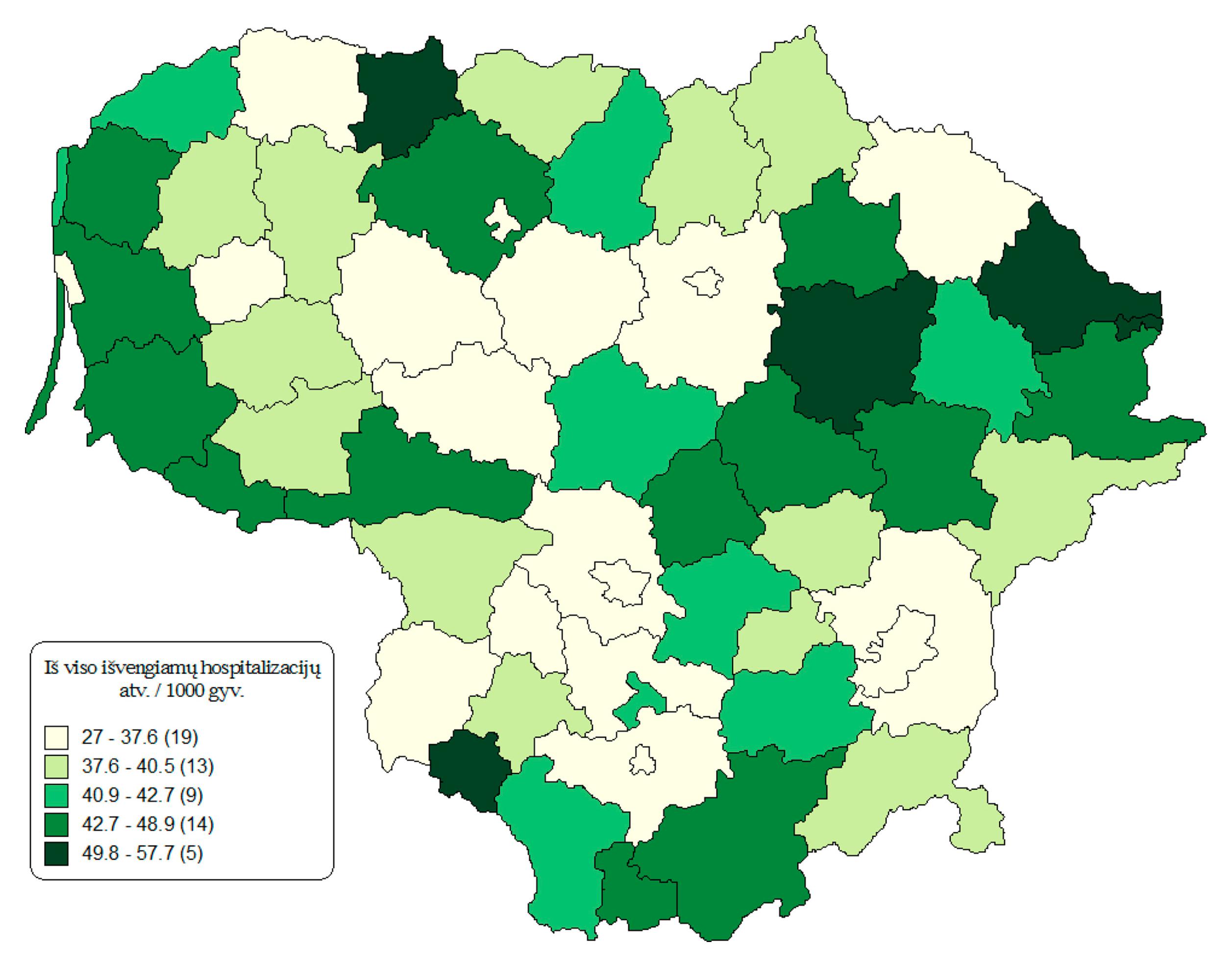2 pav. IH skaičius, tenkantis 1000 gyv., Lietuvos savivaldybėse 2012 m.