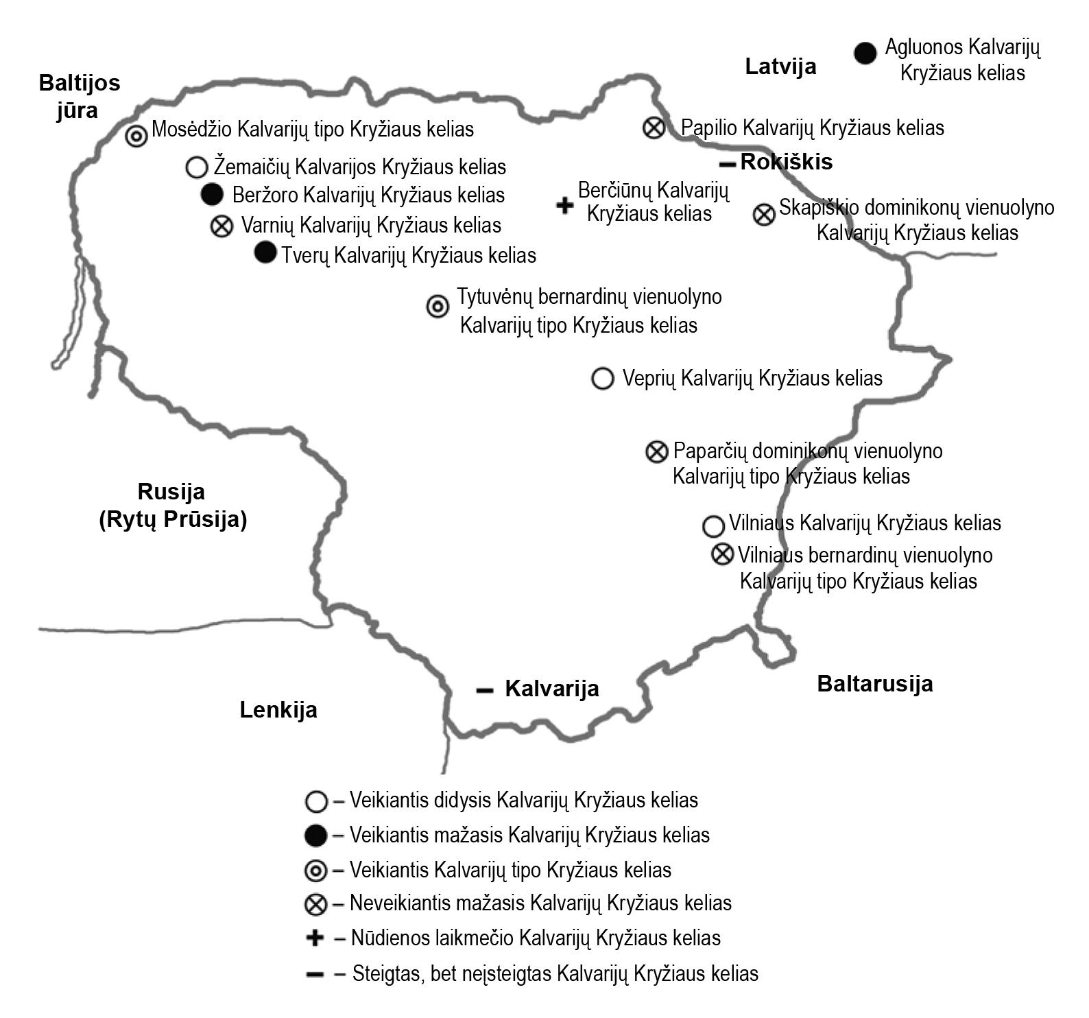 1 pav. Kalvarijų Kryžiaus keliai Lietuvoje