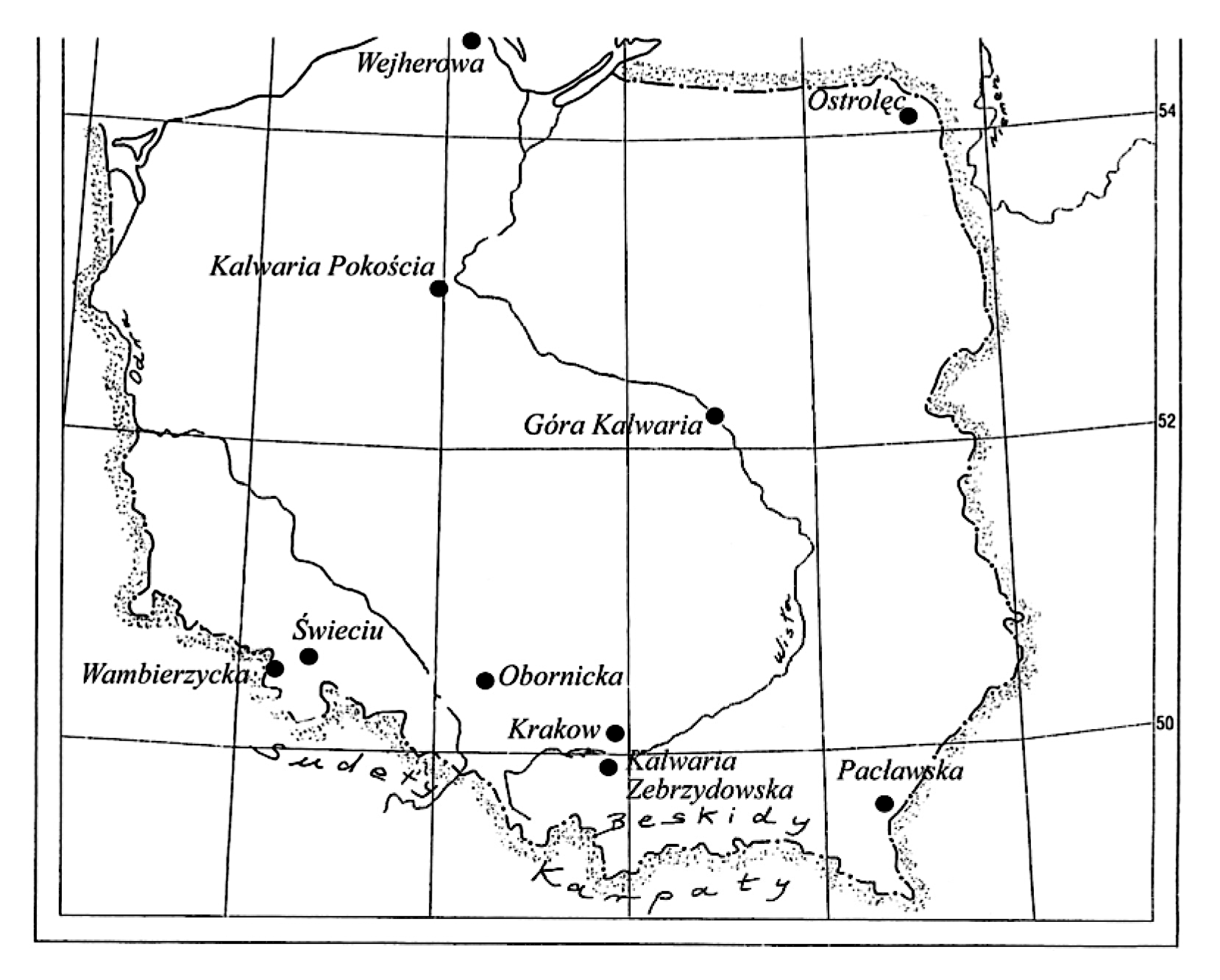 2 pav. Pagrindinių Kalvarijų Kryžiaus kelių lokalizacija Lenkijoje