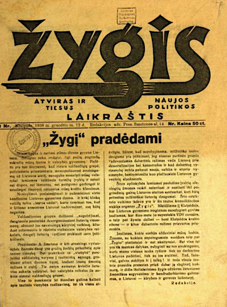 """1 pav. Žurnalo """"Žygis"""" 1938 m. nr. 1 pirmasis puslapis"""